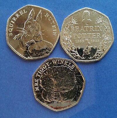 Rare Beatrix Potter anniversary,50p coin, Squirrel Nutkin,& Mrs Tiggywinkle