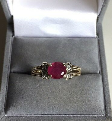 Ladies 9ct Gold 1ct Ruby And Diamond Ring