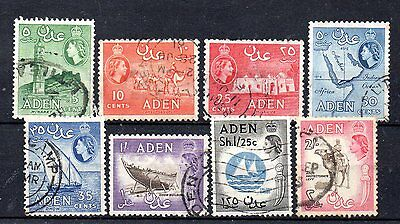 set of 8 used QEII stamps from aden