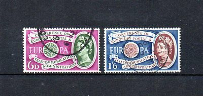 complete set of 2 used QEII GB european postal conference stamps. 1960. cat£5.50