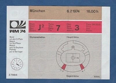 Orig.Ticket   World Cup Germany 1974   3.Place match  BRAZIL - POLAND  !  RARITY