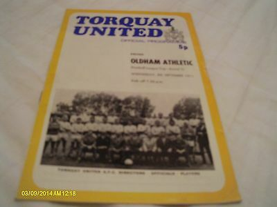Torquay Utd V Oldham Athletic League Cup Programme 1971