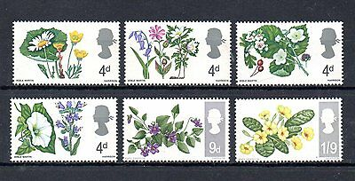 complete set of 6 mint flower theamed GB stamps