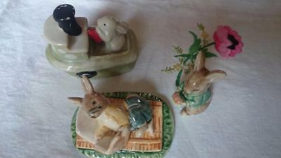 3 vintage china Rabbit Bunnies models- 1 reading, 1 on boat and 1 with plate