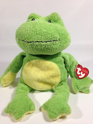 Ty Pluffies PONDS Pluffy Green FROG Plush Stuffed Animal Beanie Toy Sewn Eyes