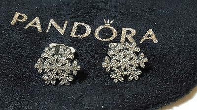 Pandora Snowflake Stud Sterling Silver Earrings. S925 ALE with box