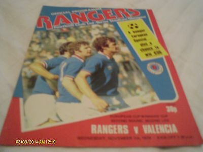 Rangers V Valencia Cup Winners Cup Programme 1979