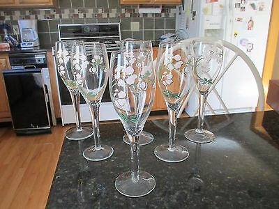 """6 Perrier Jouet Champagne Flutes Hand Painted 7 1/2""""     France           MIB"""