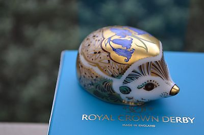 """Royal Crown Derby Paperweight """"BLUEBELL""""Hedgehog  1st Quality & Orig Box     NEW"""