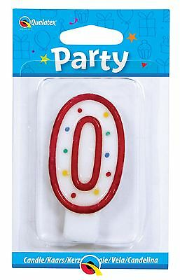 Qualatex Multi Colour Number 0 Zero  Birthday Cake Candle
