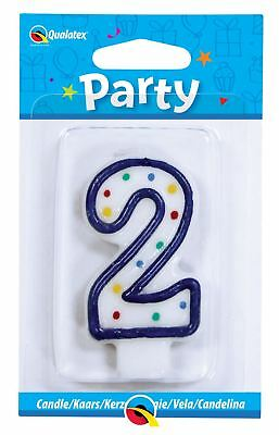 Qualatex Multi Colour Polka Dot Number 2/2nd Birthday Cake Candle