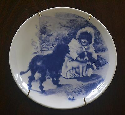 Set Of Three  Royal Doulton Plates Of Victorian Children In Blue And White Inc H