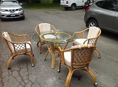 Vintage Bamboo Set, Glass Tabletop, Chairs and Coffee And End Table