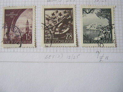 YUGOSLAVIA 1952 NAVY DAY SET of 3 STAMPS  SG737-9 FINE USED