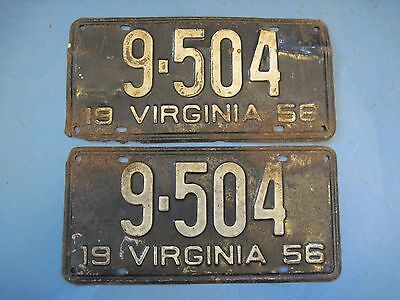 1956 Virginia License Plates matched pair low number