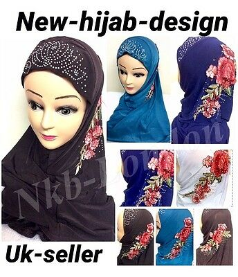 Muslim Girls Ladies Readymade Hijab  Headscarf Embroidary Hijab  New Design Uk
