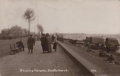 Beach & Parade Southchurch Southend Essex Real Photo 1913