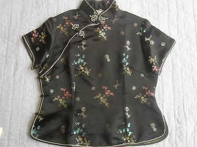 Vintage Simei Fashion Asian Mandarin Black Embroider Satin Blouse Top Bust 42