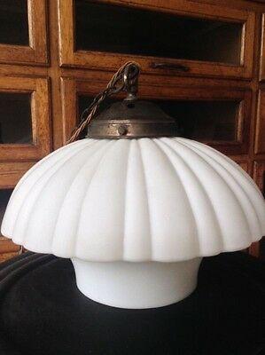 4 Vintage Industrial Antique Opaline Milk Glass Holophane Lights Light