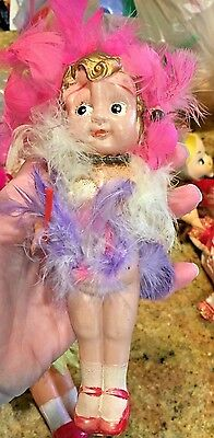 """6""""  Occupied Japan Celluloid 1920's Flapper Doll Feathers and Jewelry"""