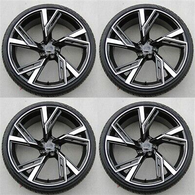 Set(4) 20X9 5X112 Black Wheels & Tires Pkg Audi A5 A4 S4 A5 S5 A7 A8 Q5 Rs7 Rs4