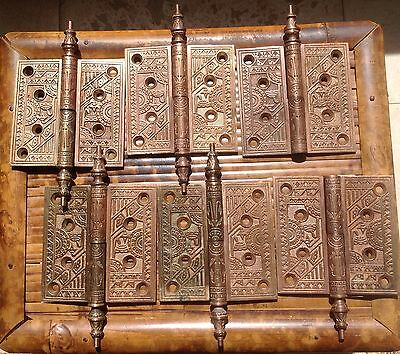 Antique Eastlake Deco Lot Of 6 Decorative Solid Brass Door Hinges