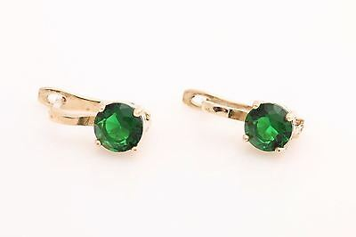 Turkish Handmade Jewelry Round Shiny Emerald 925 Sterling Silver Stud Earrings