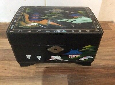 Japanese Inlaid Lacquered Musical Box Depicting Mount Fuji, Circa 1950s