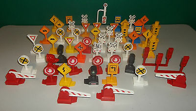 Lot of Fisher Price Geotrax Accessories - 54 Road and Railroad Signs