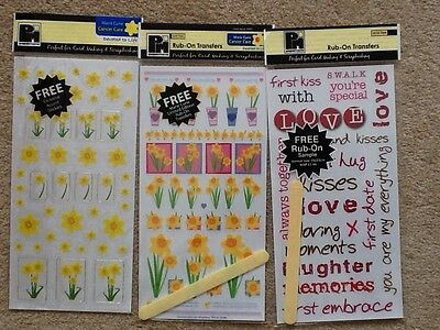 Rub On Transfers Papermania 3 Assorted Sheets 'Love And Flowers'