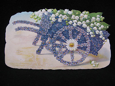 Antique Easter Die Cut Trade Card Violets Lily of the Valley Cart Unused  #269