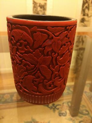 Chinese Genuine Carved Cinnabar Lacquer Brush Pot Pen Holder