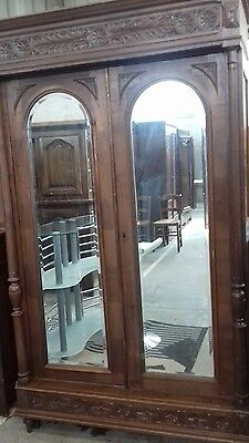 Stunning French Antique Carved Side Pillar Mirror Door Armoire Linen Press