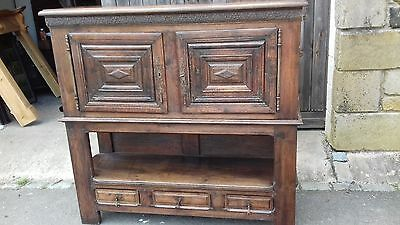 Antique French 2 Piece Rustic Oak Handcarved 18Thc Sideboard With Keys.