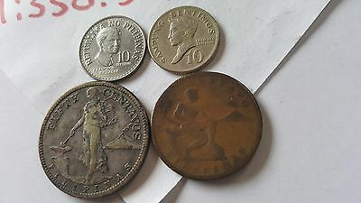 Old Philippines 4 Coin Mixed Lot War Time Centavos 1919 S, 1928, 1972, 1976