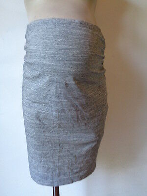 H&m Mama Maternity Grey Marl Organic Cotton Over Bump Pencil Skirt Size L 16-18