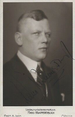 HANS KNAPPERTSBUSCH (1888-1965) / early HAND SIGNED 4x6 opera photo of conductor
