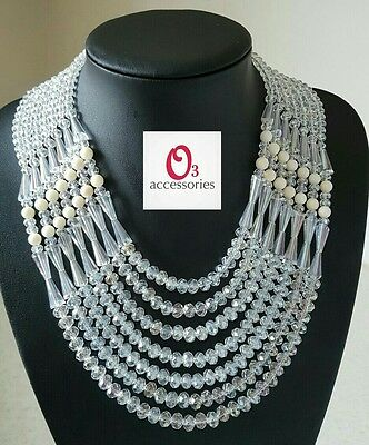O3 Accessories Clear Czech Crystal Glass with Cream Coral Bead Jewellery Set