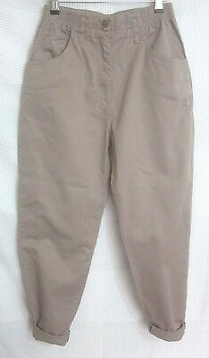 Vintage 90's CottonTaupe High Waisted Tapered Mom Trousers 10 12 Blogger
