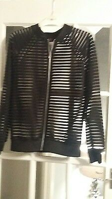black bomber jacket size 8 bnwt. . sheer striped material
