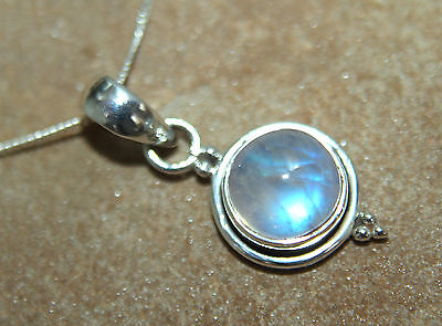 "Simple Round Rainbow Moonstone Pendant 18"" curb chain 925 Solid Silver Wiccan"