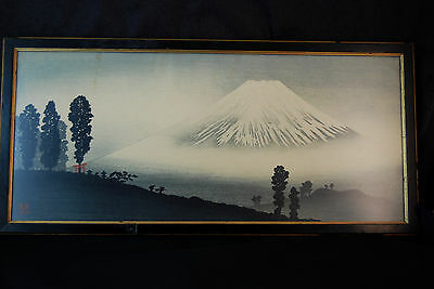 Shin Hanga Takahashi Shotei Mt Fuji In the Mist Woodblock Print Antique