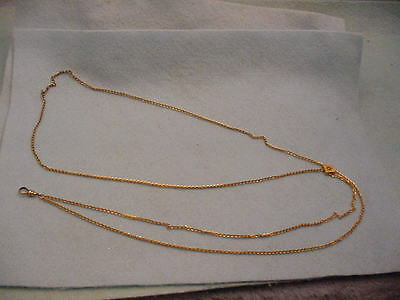 Vintage Victorian Gold Filled Watch Slide chain With Pearl Slide