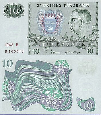 Sweden 10 Kroner Banknote 1963 Uncirculated Condition Cat#52-A-0512