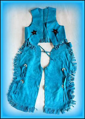 New BLUE SUEDE VEST CHAPS SET KIDS DRESS Up Cowboy Cowgirl Costume Med Large