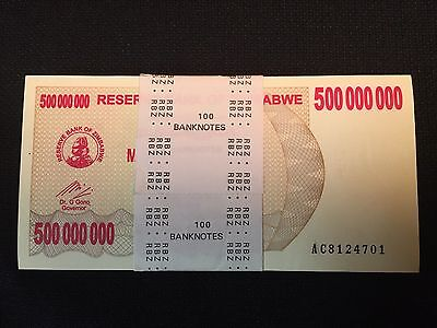 Zimbabwe UNC 500 Million Bundle 500,000,000 Authentic In Numerical Serial 100pcs