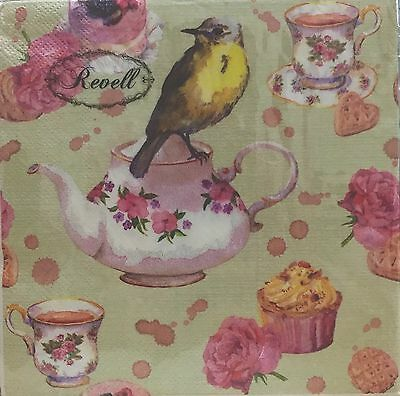 Revell Bird And Teacups Design Paper Napkins Pack of 20 Ideal For Decoupage