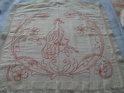 Antique Pillow Sham Cover Layover Embroidered  Red Fancy Crochet Lace Edge Bird