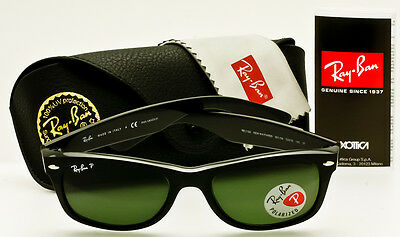 RAY-BAN NEW WAYFARER Black-Classic Green Polarized RB2132 901/58 52mm AUTHENTIC