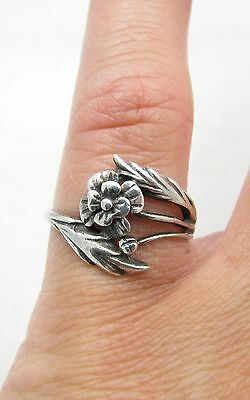 Vintage Sterling Silver Flower Bypass Design Ring Sz 6